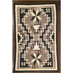 91-inch by 57.5-inch JB Moore Crystal Design Navajo Weaving with Valero Stars circa 1920