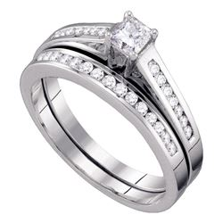 1/2 CTW Princess Diamond Bridal Wedding Ring Band Set 10kt White Gold - REF-49A6M