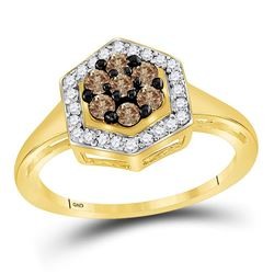 1/2 CTW Womens Round Brown Diamond Polygon Cluster Ring 10kt Yellow Gold - REF-23R9X