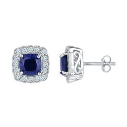 3 & 1/3 CTW Womens Cushion Lab-Created Blue Sapphire Stud Earrings 10kt White Gold - REF-29V9Y