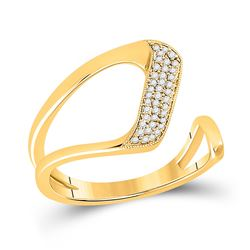 1/6 CTW Womens Round Diamond Geometric Fashion Ring 14kt White Gold - REF-28Y5N
