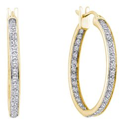 1/4 CTW Womens Round Diamond Inside Outside Hoop Earrings 14kt Yellow Gold - REF-42T2V
