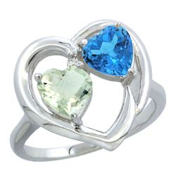 2.61 CTW Diamond, Amethyst & Swiss Blue Topaz Ring 14K White Gold - REF-33Y9V