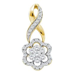 1/2 CTW Womens Round Diamond Twist Flower Cluster Pendant 14kt Yellow Gold - REF-47H6R