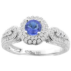 1.09 CTW Tanzanite & Diamond Ring 14K White Gold - REF-91N3Y