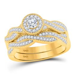 1/2 CTW Round Diamond Twist Bridal Wedding Ring 10kt Yellow Gold - REF-58N2A