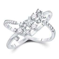 3/8 CTW Womens Round Diamond Fashion Starburst Band Ring 14kt White Gold - REF-40T8V