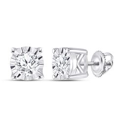 1/2 CTW Womens Round Diamond Solitaire Stud Earrings 10kt White Gold - REF-54A5M