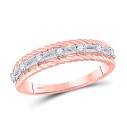 1/3 CTW Womens Baguette Diamond Anniversary Band Ring 14kt Rose Gold - REF-35N4A