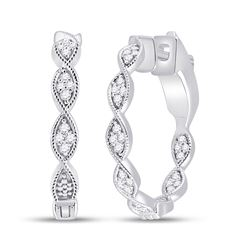 1/5 CTW Womens Round Diamond Fashion Hoop Earrings 14kt White Gold - REF-47V6Y