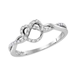 1/8 CTW Womens Round Diamond Heart Pretzel Ring 10kt White Gold - REF-19R6X