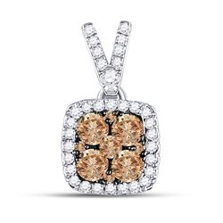 1/2 CTW Womens Round Brown Diamond Square Cluster Pendant 14kt White Gold - REF-27N3A