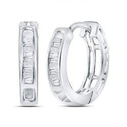 1/6 CTW Womens Baguette Diamond Huggie Hoop Earrings 14kt White Gold - REF-17N6A