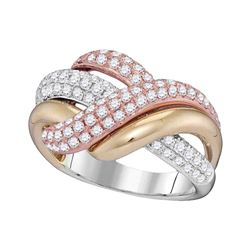 1 & 1/3 CTW Womens Round Diamond Crossover Band Ring 14kt Tri-Tone Gold - REF-163X5T