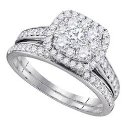 1 CTW Princess Diamond Bridal Wedding Ring 14kt White Gold - REF-118M2F