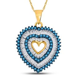 7/8 CTW Womens Round Blue Color Enhanced Diamond Heart Outline Pendant 10kt Yellow Gold - REF-31X4T