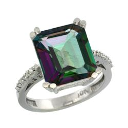 5.52 CTW Mystic Topaz & Diamond Ring 14K White Gold - REF-54M4A