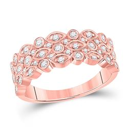 3/4 CTW Womens Round Diamond 3-Row Marquise Dot Band Ring 14kt Rose Gold - REF-76A9M
