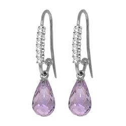 Genuine 4.68 ctw Amethyst & Diamond Earrings 14KT White Gold - REF-40F7Z