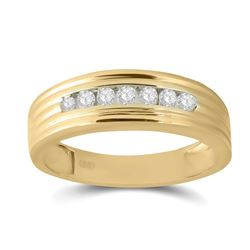 1/4 CTW Mens Round Diamond Wedding Single Row Band Ring 10kt Yellow Gold - REF-34X3T