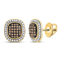 1/2 CTW Womens Round Brown Diamond Oval Cluster Earrings 10kt Yellow Gold - REF-27H3R