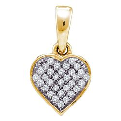 1/10 CTW Womens Round Diamond Small Dainty Heart Pendant 10kt Yellow Gold - REF-7X5T