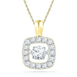 1/4 CTW Womens Round Diamond Square Moving Twinkle Pendant 10kt Yellow Gold - REF-27H3R