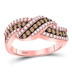 3/4 CTW Womens Round Brown Diamond Crossover Band Ring 10kt Rose Gold - REF-46W5H