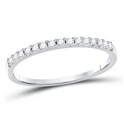 1/6 CTW Womens Round Diamond Wedding Single Row Band Ring 14kt White Gold - REF-19A6M