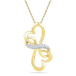 1/20 CTW Womens Round Diamond Double Heart Pendant 10kt Yellow Gold - REF-9W5H