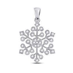 1/6 CTW Womens Round Diamond Snowflake Fashion Pendant 10kt White Gold - REF-16H4R