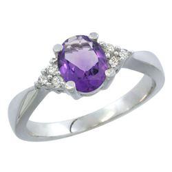 1.06 CTW Amethyst & Diamond Ring 14K White Gold - REF-36N9Y