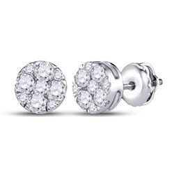 1/2 CTW Womens Round Diamond Fashion Cluster Earrings 14kt White Gold - REF-47H6R