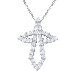 1.14 CTW Diamond Necklace 18K White Gold - REF-115F8N