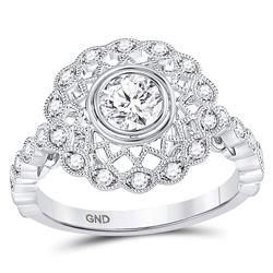 1 CTW Round Diamond Solitaire Milgrain Bridal Wedding Engagement Ring 14kt White Gold - REF-197Y6N
