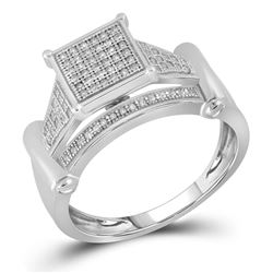 1/4 CTW Womens Round Diamond Elevated Square Cluster Ring 10kt White Gold - REF-30F7W