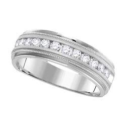 1 CTW Mens Round Diamond Wedding Single Row Band Ring 14kt White Gold - REF-156H7R