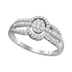 1/3 CTW Womens Round Diamond Framed Oval Cluster Triple Strand Ring 10kt White Gold - REF-19N6A