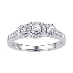 3/8 CTW Round Diamond 3-stone Bridal Wedding Engagement Ring 10kt White Gold - REF-36N2A