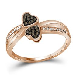 1/10 CTW Womens Round Brown Diamond Heart Ring 10kt Rose Gold - REF-21V2Y