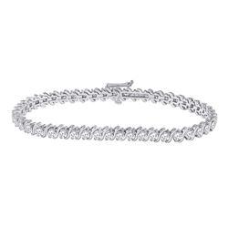 4 CTW Womens Round Diamond Classic Tennis Bracelet 14kt White Gold - REF-286Y4N