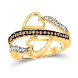 1/5 CTW Womens Round Brown Diamond Heart Crossover Ring 10kt Yellow Gold - REF-20X5T