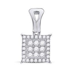 1/2 CTW Womens Round Diamond Square Cluster Pendant 14kt White Gold - REF-38A2M