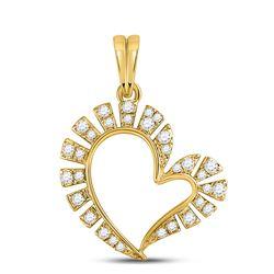 1/5 CTW Womens Round Diamond Fashion Heart Pendant 10kt Yellow Gold - REF-16M4F