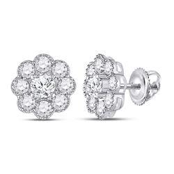 2 CTW Womens Round Diamond Flower Cluster Earrings 14kt White Gold - REF-204T5V