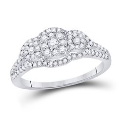 1/2 CTW Womens Round Diamond Cluster 3-stone Ring 10kt White Gold - REF-47T3V