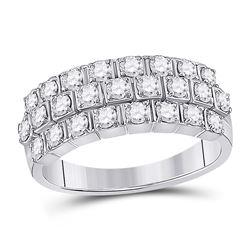 1 CTW Womens Round Diamond 3-Row Anniversary Ring 14kt White Gold - REF-95M5F