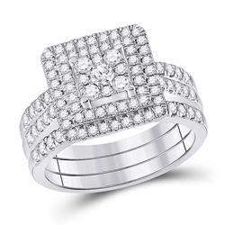 1 CTW Round Diamond Bridal Wedding Ring Band Set 10kt White Gold - REF-95N5A