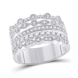 1/2 CTW Womens Round Diamond Stacked Band Ring 10kt White Gold - REF-57A3M