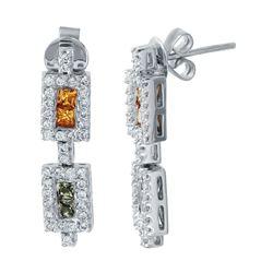 1.45 CTW Multi-Color Sapphire & Diamond Earrings 14K White Gold - REF-56X9R